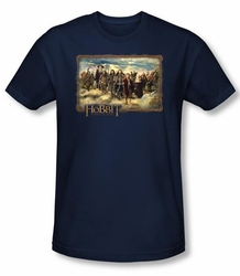 The Hobbit Shirt Movie Unexpected Journey Adult Navy Slim Fit T-shirt