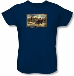 The Hobbit Ladies Shirt Movie Unexpected Journey Navy Tee T-shirt