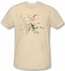 The Hobbit Shirt Movie Unexpected Journey Mountain Cream Slim Fit Tee