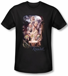 Hobbit Shirt Movie Unexpected Journey Loyalty Rivendell Black Slim Fit