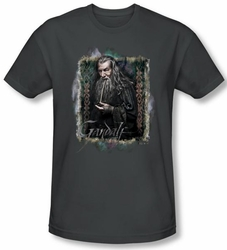 Hobbit Shirt Unexpected Journey Loyalty Gandalf Charcoal Slim Fit