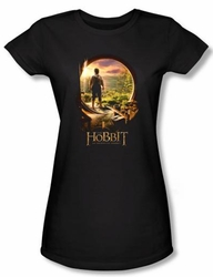 Hobbit Juniors Shirt Movie Unexpected Journey Loyalty Door Black Tee
