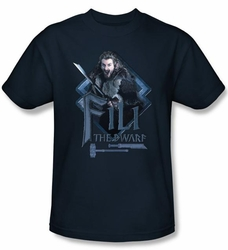 The Hobbit Shirt Movie Unexpected Journey Fili Adult Navy Blue T-shirt