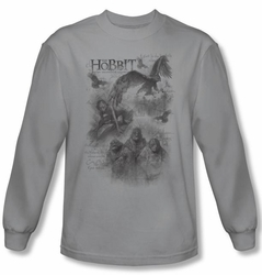 The Hobbit Shirt Movie Unexpected Journey Sketches Silver Long Sleeve
