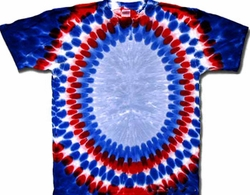 Tie Dye T-shirt - Patriotic Oval Colors Adult Tee