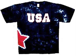 Tie Dye T-shirt - Patriotic USA Side Star Adult Tee