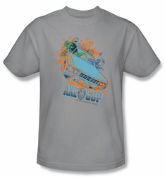 Axe Cop T-Shirt - Flying Car Comic Book Silver Adult Tee Shirt