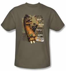 Axe Cop Kids T-Shirt Aliens And Dinosaurs Safari Green Youth Tee