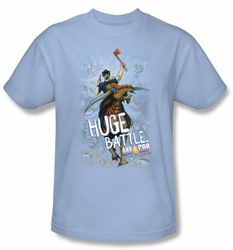 Axe Cop T-Shirt � Huge Battle Comic Book Light Blue Adult Tee Shirt