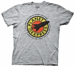 Futurama T-Shirt Planet Express Adult Heathered Grey Tee Shirt