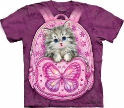Kitty Shirt Tie Dye Cat Backpack T-shirt Adult Tee