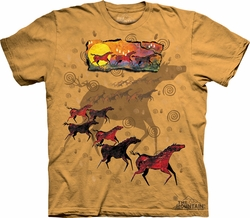 Horse Shirt Tie Dye Wild Red Horses T-shirt Adult Tee