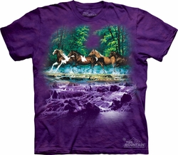 Horses Shirt Tie Dye T-shirt Spring Creek Run Adult Tee