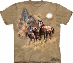Horse Shirt Tie Dye T-shirt Flag Patriot Adult Tee