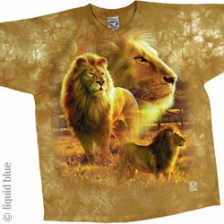 Lion Pride T-shirt - Exotic Wildlife Tie-Dye Adult Tee Shirt