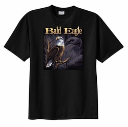 Eagle T-shirt - Bald Eagle On Branch Bird Wildlife Adult Tee