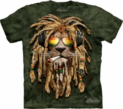 Lion Shirt Rasta Smokin' Jahman T-shirt Tie Dye Green Adult Tee