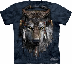 Wolf Shirt DJ Fen Wolves T-shirt Tie Dye Blue Adult Tee