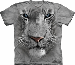 White Tiger Shirt Blue Eyes Face T-shirt Tie Dye Adult Tee