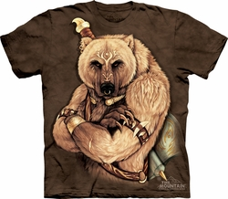 Tribal Bear Shirt Tie Dye Grizzly T-shirt Adult Tee
