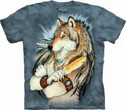 Wolf Shirt Tie Dye Wolves Golden Feather T-shirt Adult Tee