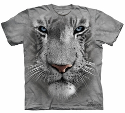 White Tiger Kids Shirt Tie Dye Face T-shirt Tee Youth