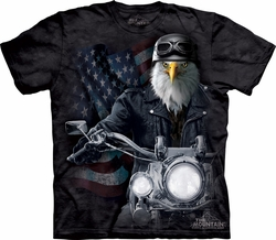 Bald Eagle Shirt Tie Dye Biker Bird Stryker T-shirt Adult Tee