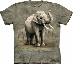 Elephants Shirt Tie Dye Asian Animals T-shirt Adult Tee