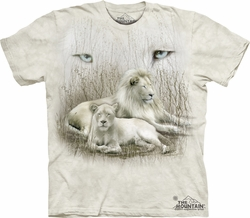 White Lion Shirt Tie Dye Big Cats T-shirt Adult Tee