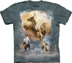 White Buffalo Shirt Tie Dye Tribal Shield T-shirt Adult Tee
