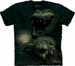 Alligator Shirt Tie Dye Crocodile Dark Gator Adult T-shirt Tee