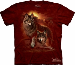 Wolf Shirt Tie Dye Wolves Sunset T-shirt Adult Tee