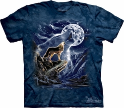 Wolf Shirt Tie Dye Wolves Spirit Moon T-shirt Adult Tee