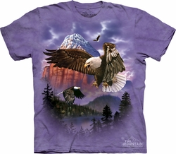 Bald Eagle Shirt Tie Dye Mountain Majesty T-shirt Adult Tee
