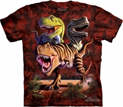 T-Rex Shirt Tie Dye Rex Dinosaurs Collage T-shirt Adult Tee