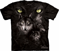 Wolf Shirt Tie Dye Wolves Moon Eyes Collage T-shirt Adult Tee