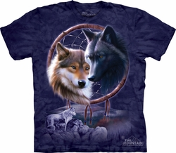 Wolf Shirt Tie Dye Dreamcatcher Wolves T-shirt Adult Tee