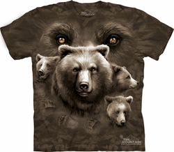 Bear Shirt Tie Dye Grizzly Eyes T-shirt Adult Tee