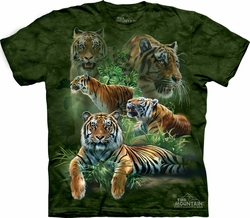 Tiger Shirt Tie Dye T-shirt Jungle Adult Tee