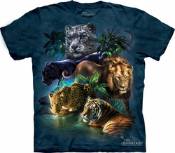 Big Cats Shirt Tie Dye T-shirt Jungle Adult Tee