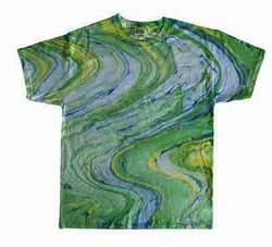 Tie Dye Kids T-shirt Marble Lime Vintage Groovy Green Youth Tee Shirt