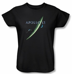 Apollo 13 Ladies T-shirt Movie Poster Black Tee Shirt