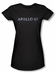 Apollo 13 Juniors T-shirt Movie Logo Black Tee Shirt