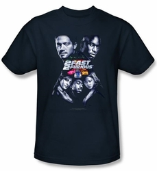 2 Fast 2 Furious Shirt Movie Poster Navy Blue Tee T-Shirt