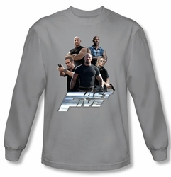 Fast Five T-shirt Fast Five Crew Silver Long Sleeve Tee Shirt