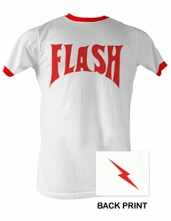 Flash Gordon T-Shirt - Flash Bolt Ringer Adult White/Red Tee Shirt