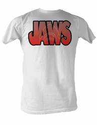 Jaws T-shirt Jaws Logo With Shark Adult White Tee Shirt
