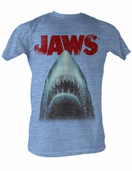 Jaws T-shirt Distressed Jaws Head Adult Light Blue Heather Tee Shirt