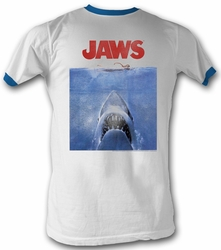 Jaws Ringer T-shirt Movie Shark Poster Adult White/Blue Tee Shirt
