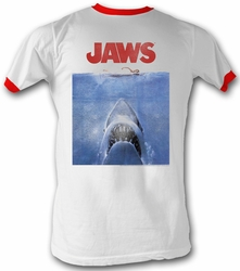 Jaws Ringer T-shirt Movie Shark Poster Adult White/Red Tee Shirt